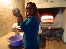 Kneading the dough for our pizza